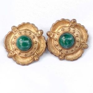 Vintage Gold Earrings with Green Marble Cabachons